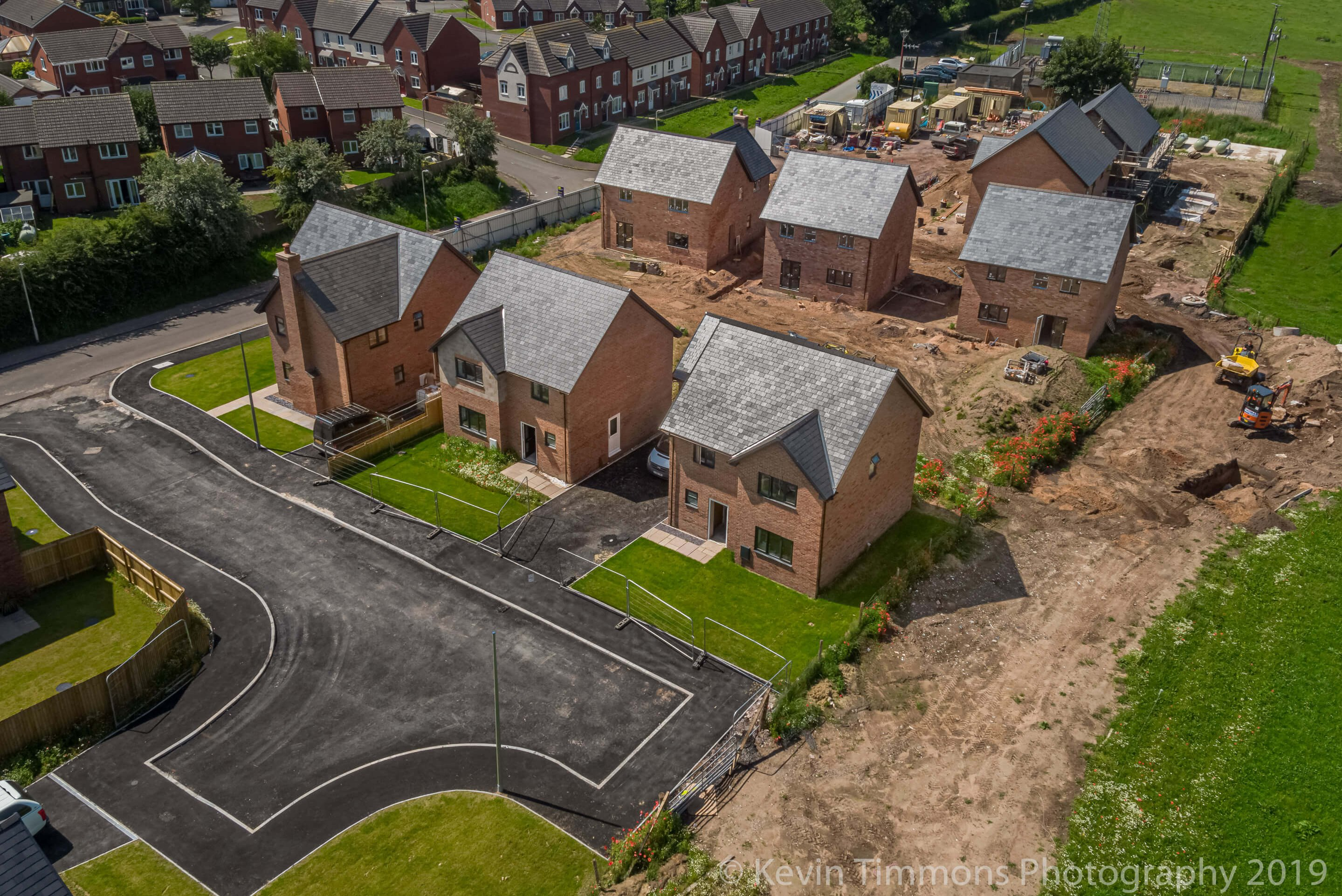 Aerial drone image of housing development in the countryside